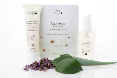 100% Pure Purity linija: Naravni izdelki za nego kože z aknami in mozolji