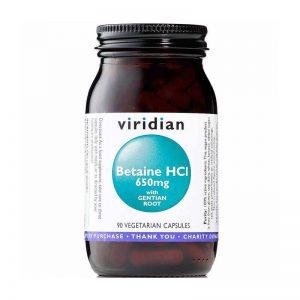 Betain HCI s korenino encijana, 650mg (90 kapsul). Viridian Nutrition