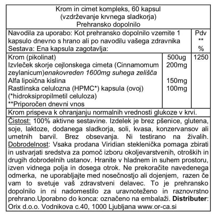 Krom in cimet kompleks (60 kapsul). Viridian Nutrition, naravni prehranski dodatki. Prispeva k ohranjanju normalnega nivoja glukoze (sladkorja) v krvi.
