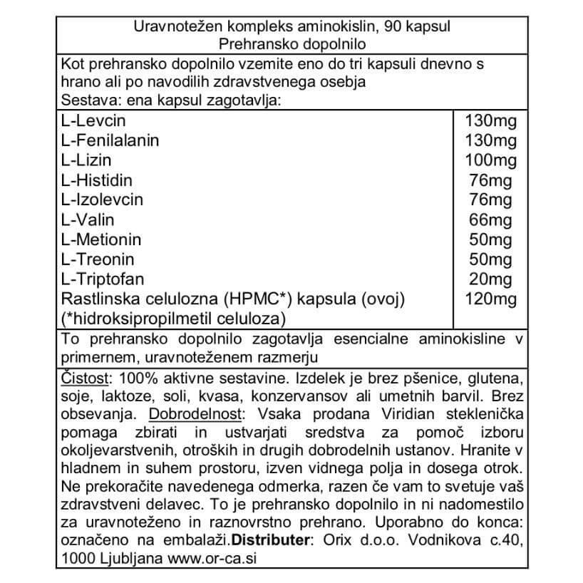 Uravnotežen kompleks aminokislin (90 kapsul). Viridian Nutrition, naravni prehranski dodatki. Zagotavlja esencialne aminokisline v uravnoteženem razmerju.