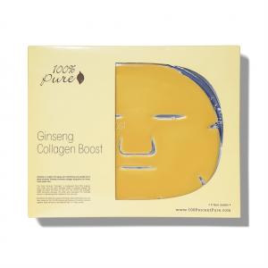 Obrazna maska z ginsengom, za povečanje nastanka kolagena (5 kosov). 100% Pure, naravna kozmetika.