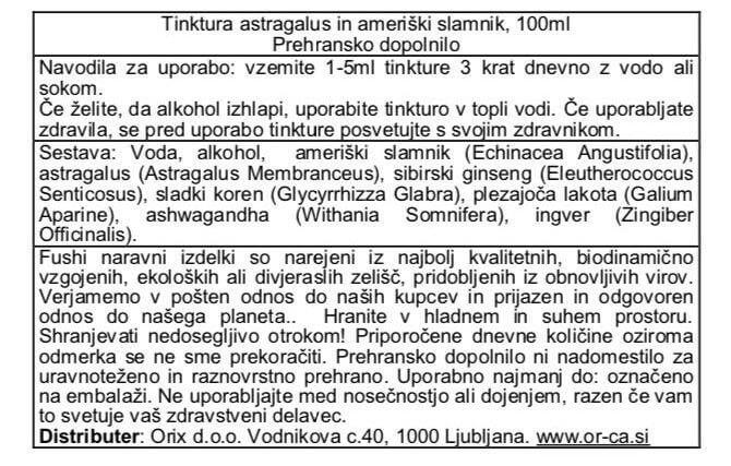 Tinktura astragalus in ameriški slamnik - Defence, 100ml. Fushi, naravna prehranska dopolnila. Ekološka tinktura za podporo in krepitev imunskega sistema.