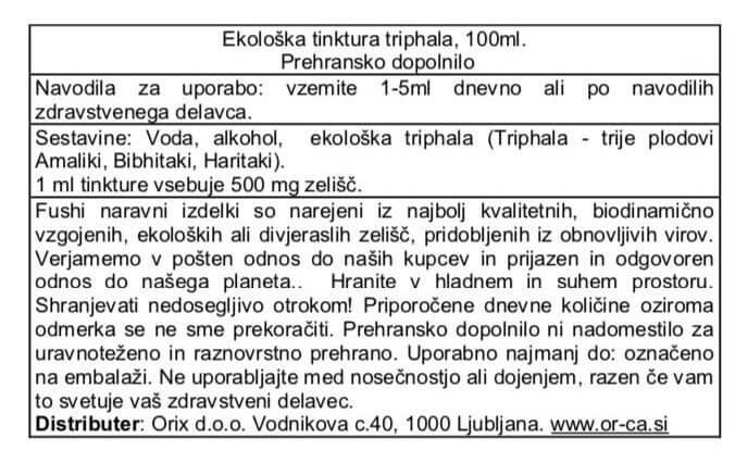 Ekološka tinktura triphale, 100ml. Fushi, naravna prehranska dopolnila. Deluje kot nežno, naravno odvajalo in telo tudi razstruplja. Detox.