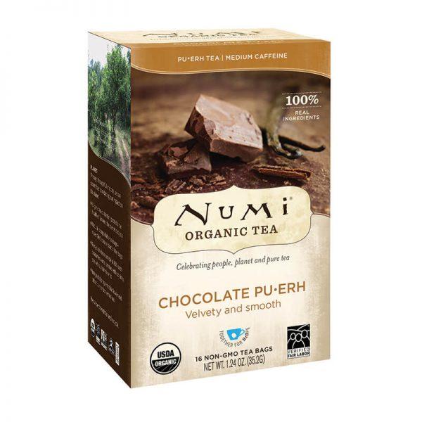 Ekološki čaj čokolada Pu-erh, 16 čajnih vrečk (2,2 g). Numi, ekološki čaji.