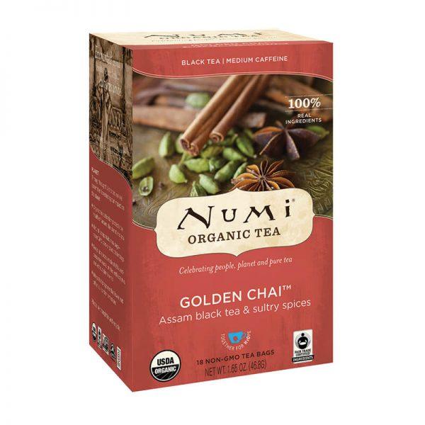 Ekološki črni čaj Golden Chai, 18 čajnih vrečk (2,6 g). Numi, ekološki čaji.