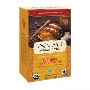 Ekološki čaj kurkuma Three Roots, 12 čajnih vrečk (3,1 g). Numi, ekološki čaji.