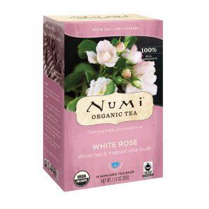 Ekološki beli čaj z vrtnico, 16 čajnih vrečk (2 g). Numi, ekološki čaji.