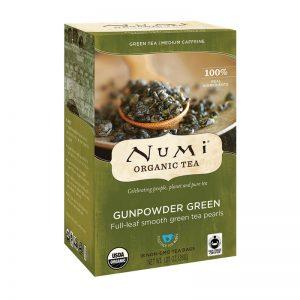 Ekološki zeleni čaj Gunpowder, 18 čajnih vrečk (2 g). Numi, ekološki čaji.