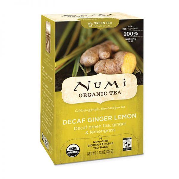 Ekološki zeleni čaj ingver in limonska trava, 16 čajnih vrečk (2 g). Numi, ekološki čaji. Z limonsko verbeno, limonsko travo in sladkim korenom.