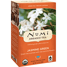 Ekološki zeleni čaj Jasmin, 18 čajnih vrečk (2 g). Numi, ekološki čaji.