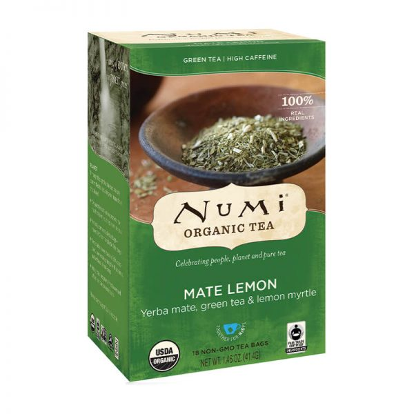 Ekološki zeleni čaj mate in limonina mirta, 18 čajnih vrečk (2,3 g). Numi, ekološki čaji.