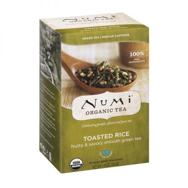 Ekološki zeleni čaj praženi riž, 18 čajnih vrečk (2,3 g). Numi, ekološki čaji.