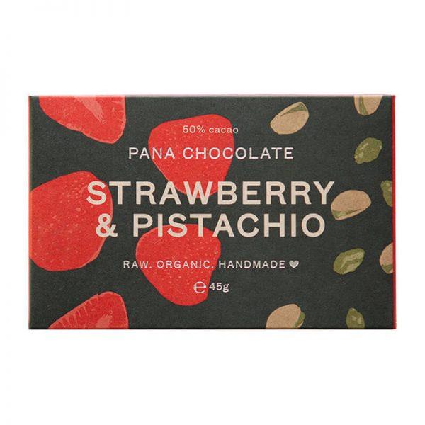 Pana presna čokoladica jagoda in pistacija (45g). Veganske, Presne Čokolade