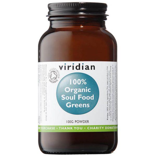Ekološko Soul Food zelenje, 100 g. Viridian Nutrition, naravni prehranski dodatki.