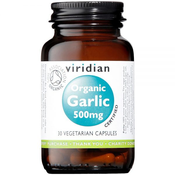 Ekološki česen 500mg, 30 kapsul. Viridian Nutrition, naravni prehranski dodatki.