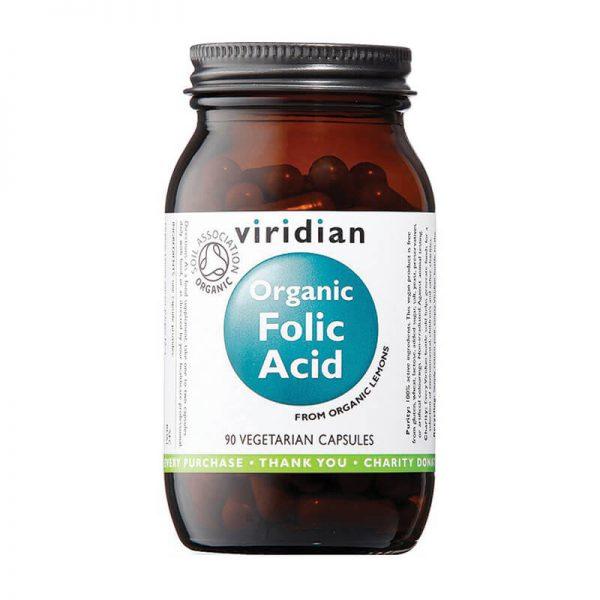 Ekološka folna kislina, 90 kapsul. Viridian Nutrition, naravni prehranski dodatki.