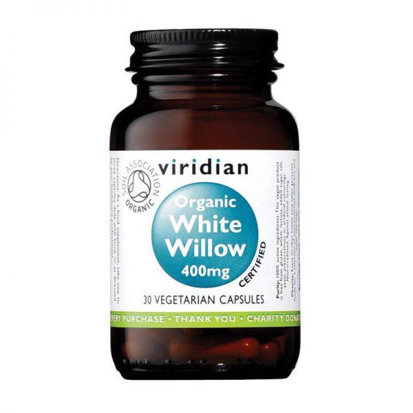 Ekološko lubje bele vrbe 400 mg, 30 kapsul. Viridian Nutrition, naravni prehranski dodatki.