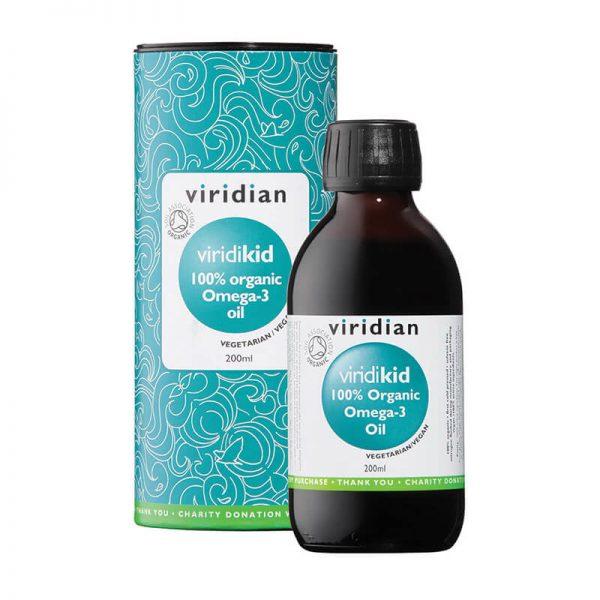 ViridiKid ekološko omega-3 olje za otroke, 200ml. Viridian Nutrition, naravni prehranski dodatki.