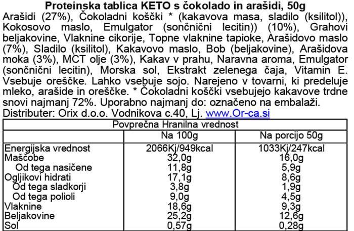 Pulsin KETO proteinska tablica z arašidi in koščki čokolade.